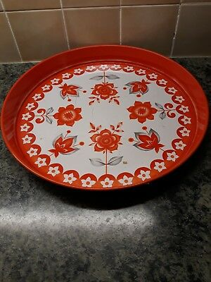 1970 s retro collectable orange flowers tea tray British made