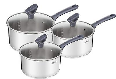 Tefal Daily Cook Induction Set of 3 Stainless Steel Saucepans with Lids
