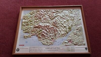 Framed Relief Raised Map Of  Cardiff and South Wales. Oxford Plastic