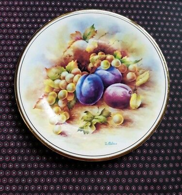 """Royal Crown Duchy Bone China Grapes Plums Fruit Plate 10"""", signed D Wallace"""