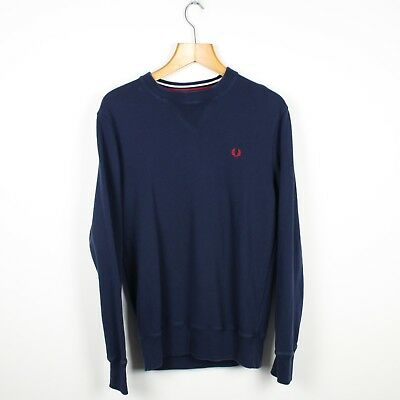 Vintage FRED PERRY Navy Blue Knitted Sweatshirt Jumper | Retro Original | Small