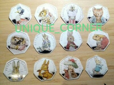 12 Beatrix Potter 2016/17/18 50p Decals/Stickers FAST AND FREE POSTAGE