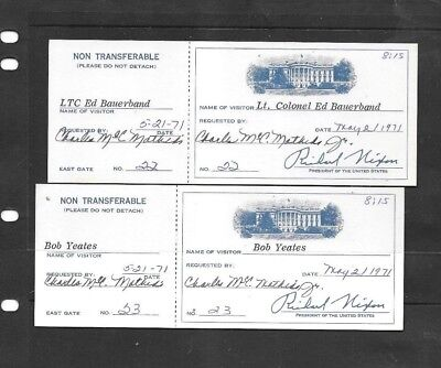 Collectibles Usa  2 Consecutive Entrance White House Tickets 1971 Nixon  Facsimi