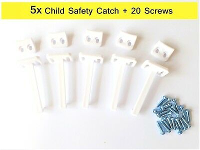 5x Child Safety Catch Child Proof Cupboard Door Drawer Lock Latch + Screws