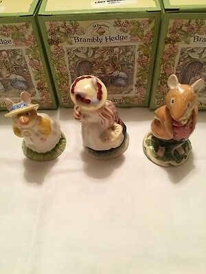 Royal Doulton Brambley Hedge Lord Woodmouse, Lady Woodmouse and Woodmouse NEW