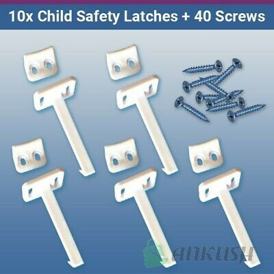 10x Child Safety Catch Child Proof Cupboard Door Drawer Lock Latch + Screws
