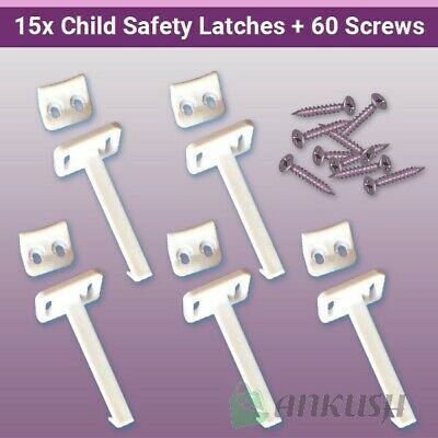 15x Child Safety Catch Child Proof Cupboard Door Drawer Lock Latch + Screws