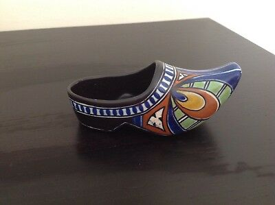 Gouda pottery Holland - small clog 6 inches length - Dorian pattern