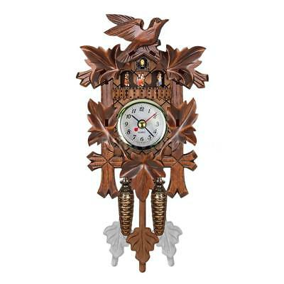 Cuckoo Wall Clock Bird Wood Hanging Decorations for Home Cafe Restaurant U6C5