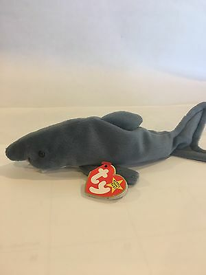 Crunch The Shark Ty Beanie Baby. He Is Rare, New, MWMT, P.V.C Pellets and Errors