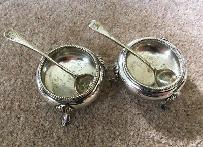 William Hutton & Sons Silver Plate Salt And Pepper Cellars + Spoons Antique 19C
