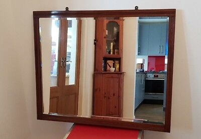 Antique Large Oak Overmantle Mirror With Bevel Edged Plate- Great Condition!