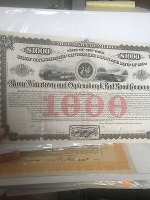 USA ROME WATERTOWN & OGDENSBURGH RAILROAD COMPANY  stock certificate 1874