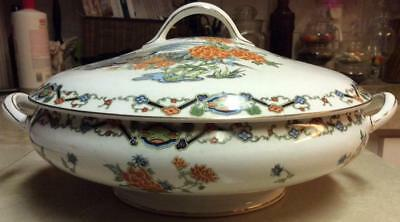 Antique Maddock Lotus flowers Pheasants bird Covered bowl Tureen MAD2 asian MINT
