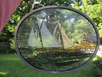 Vintage Glassmasters Stained Glass ~ Rounding The Point Sailboat Race