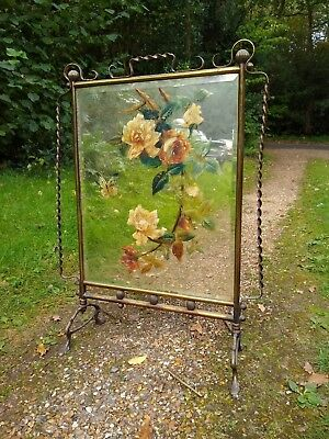 Antique Victorian Mirrored Fire Screen With Floral Butterfly Decoration