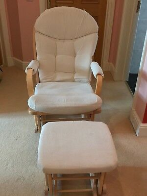 Reclining glider nursing chair and foot stool