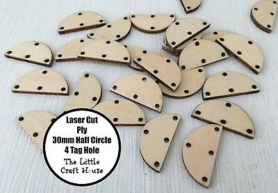 12 x 30mm Wooden Half Circle 4 Tag Hole Laser Cut Semi Shape Ply Blank Wood DIY