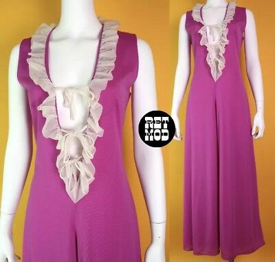 70s Purple Cut Out Frill Jumpsuit Size 10