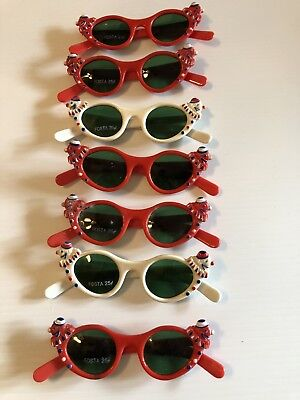 """Lot Of 7 Vintage Pair Of """"Fosta"""" Childrens Sunglasses With Clown"""