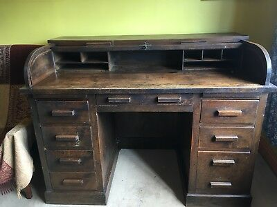 Oak roll top bureau desk