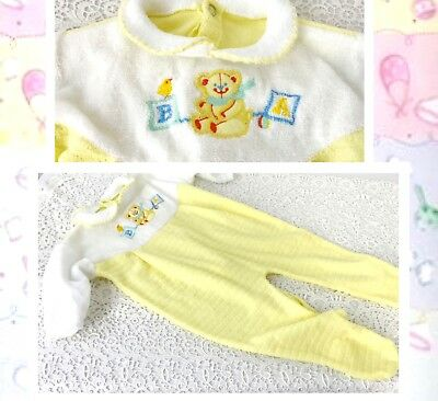 Vintage Baby Sleep And Play Yellow Snap Outfit 11-18 Lb Approx Bear Decoration