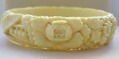 Vintage Carved Floral Celluloid Bangle Ivory Colour, 1930's, Marked Foreign