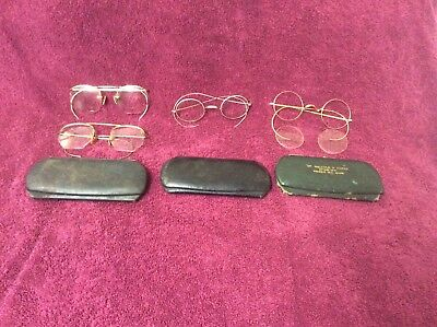 Vintage Wire Rim Glasses, Lot Of Four