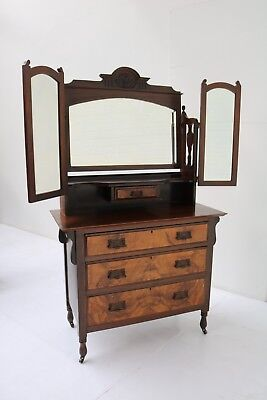 An Edward Vii Mahogany And Burr Walnut Dressing Table With 3 Drawers