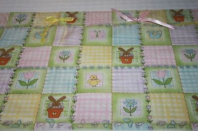 "Darling Valance For Little Girls ~ Bunnies In Flower Pots & Bows ~ 78"" X 17"""