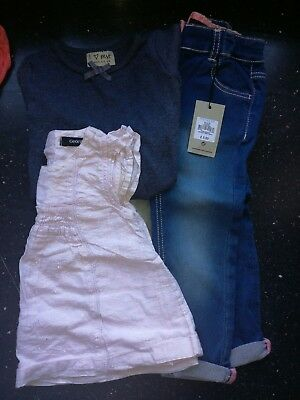 12/18m Girls Clothes Bundle 3 items bnwt jeans pink sparkle top and next top