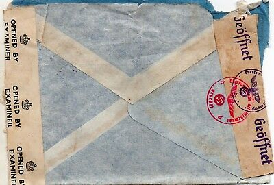 1944 W.W. 2 postal cover Switzerland to England. G.B. and German censor strips.