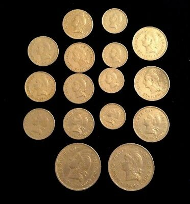 Vtg Lot (16) Dominican Republic Coins Medio Peso 5 10 25 12 1/2 Money