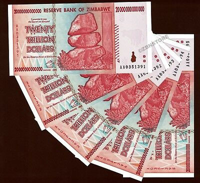 5 x 20 Trillion Dollars Zimbabwe Banknotes AA 2008 UNC Authentic = 100 Trillion