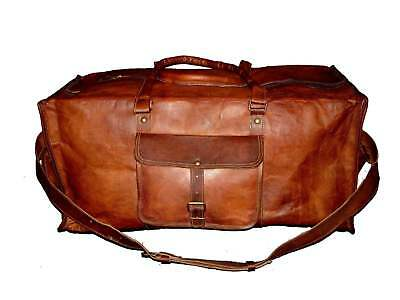 New Travel Bag Large Men's Leather Vintage Duffle Luggage Weekend Gym Overnight