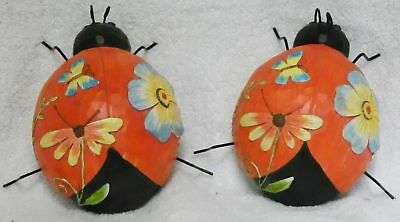 """Two Large 6"""" Lady Bug Figurines Home Decor Garden"""