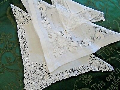 3 (THREE) Pretty Hankerchiefs....Lace,Drawn Threads GC