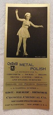 Vintage Metal Polish Advertising Ink Blotter - Girl On Roller Skates