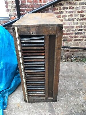 antique wooden letterpress Metal work trays storage