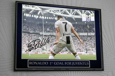 Cristiano Ronaldo Juventus Framed Canvas Print Signed Great Gift