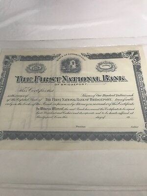 Unissued Stock Certificate The First National Bank of Bridgeport Connecticut