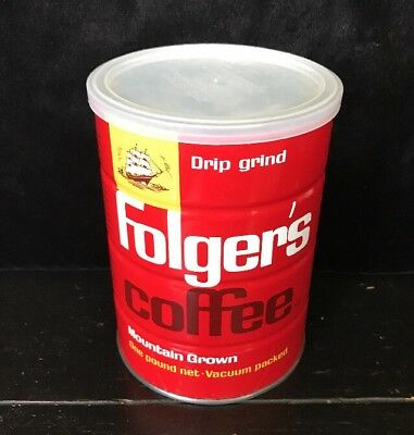 Sealed Full Vintage Folger's Coffee Can Tin 16 OZ 1 LB DRIP Not Keywind
