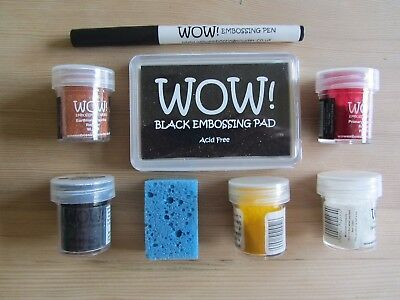 """Wow"" Five Coloured Embossing Powders, Embossing Pad & Pen.all Vgc. Bargain"