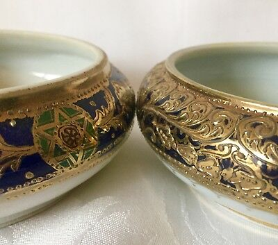Two Elegant Cobalt Blue & Gold Nippon Bowls Dishes, Moriage