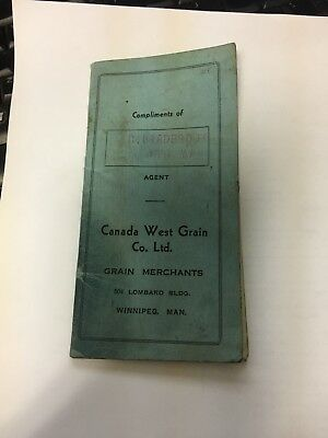 1943 Canada West Grain Exchange Pocket Notebook Ledger