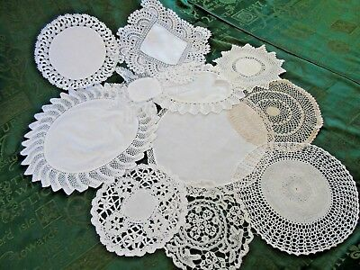 11.Vintage Doilies,Hand crochet,Lace,Embroidery Good mix of sizes/shapes GC