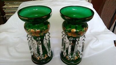 Pair of Bohemian Emerald green Mantle Lusters Hand Painted Antique