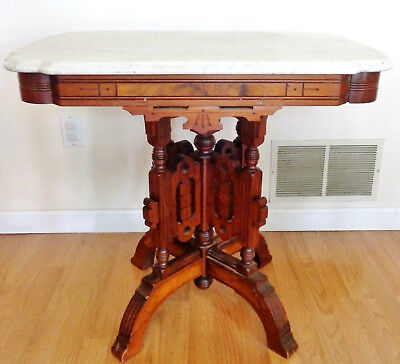Large Antique Victorian Era Marble Top Eastlake Lamp Table.