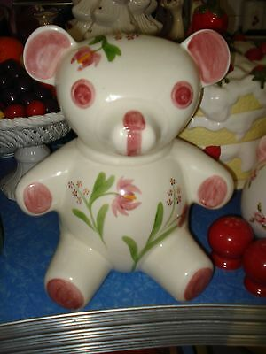 Vintage N.S. GUSTIN USA Ceramic TEDDY BEAR COOKIE JAR Mid Century ~ Pink Flowers