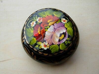Russian lacquered and painted wooden box new flowers on black small size